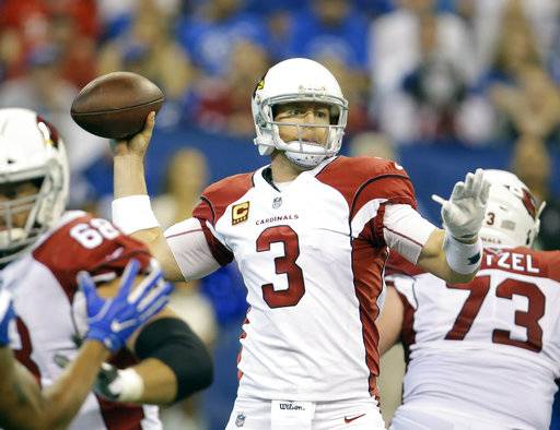 Arizona Cardinals quarterback Carson Palmer (3) throws during the first half of an NFL football game against the Indianapolis Colts, Sunday, Sept. 17, 2017, in Indianapolis. (AP Photo/AJ Mast)