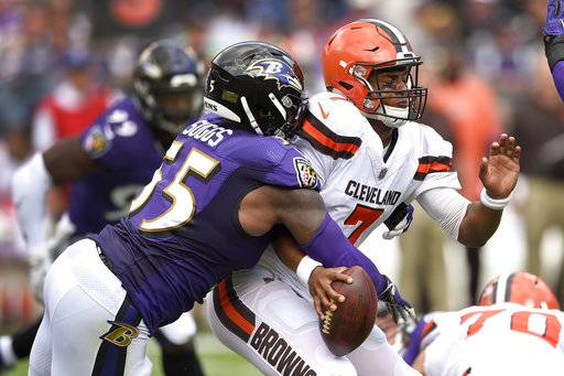 Baltimore Ravens outside linebacker Terrell Suggs (55) strips the ball from Cleveland Browns quarterback DeShone Kizer (7) forcing a turnover during the first half of an NFL football game in Baltimore, Sunday, Sept. 17, 2017. (AP Photo/Nick Wass)