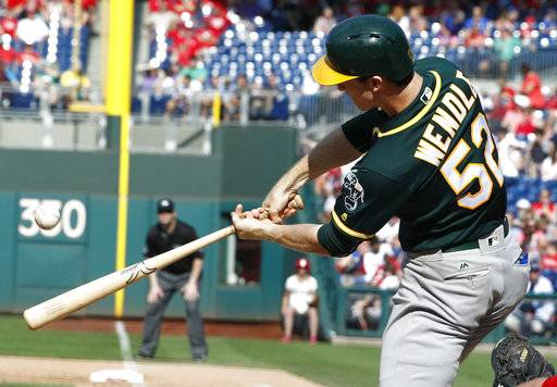 Oakland Athletics' Joey Wendle connects for a grand slam off Philadelphia Phillies pitcher Edubray Ramos during the sixth inning of a baseball game, Sunday, Sept. 17, 2017, in Philadelphia. (AP Photo/Tom Mihalek)