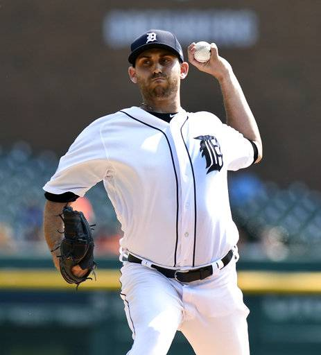 Detroit Tigers starting pitcher Matthew Boyd delivers against the Chicago White Sox in the first inning of a baseball game, Sunday, Sept. 17, 2017, in Detroit. (AP Photo/Jose Juarez)