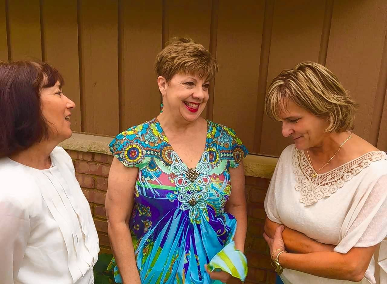 "Cynthia Bolds, Mary Kirkman and JoAnn Smith discuss town gossip while rehearsing a scene from Independent Players' production of ""Our Town,"" which opens Friday, Sept. 22, and runs through Saturday, Oct. 7, at the Elgin Art Showcase."