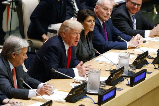 "President Donald Trump speaks during the ""Reforming the United Nations: Management, Security, and Development"" meeting during the United Nations General Assembly, Monday, Sept. 18, 2017, in New York. From left, UN Secretary General Antonio Guterres, Trump, UN Ambassador Nicky Haley, White House chief of staff John Kelly, and National Security Adviser H.R. McMaster."