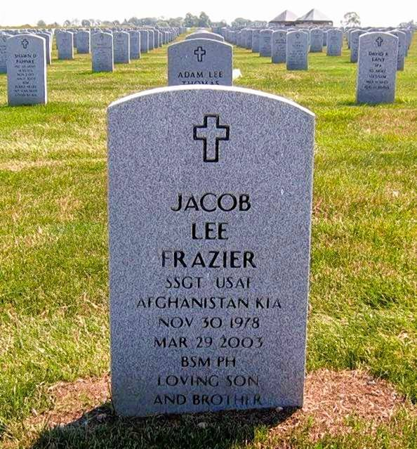 Jake Frazier is one of 34 Illinois National Guard servicemen and women killed in combat in either Iraq or Afghanistan since the Sept. 11, 2001 terrorist attacks.