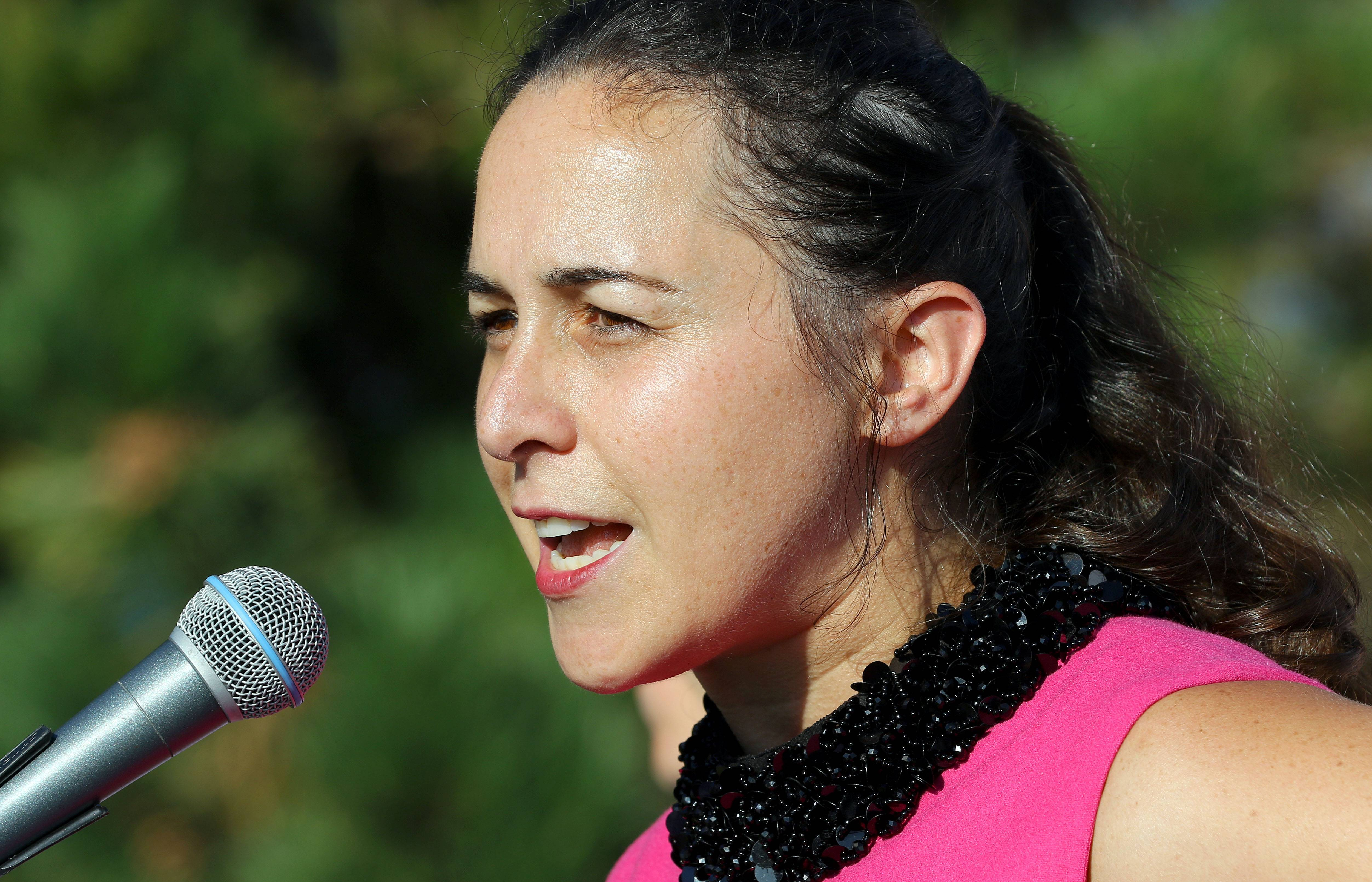 Dr. Anna Katz speaks during Tuesday's pep rally for breast cancer awareness in Libertyville.