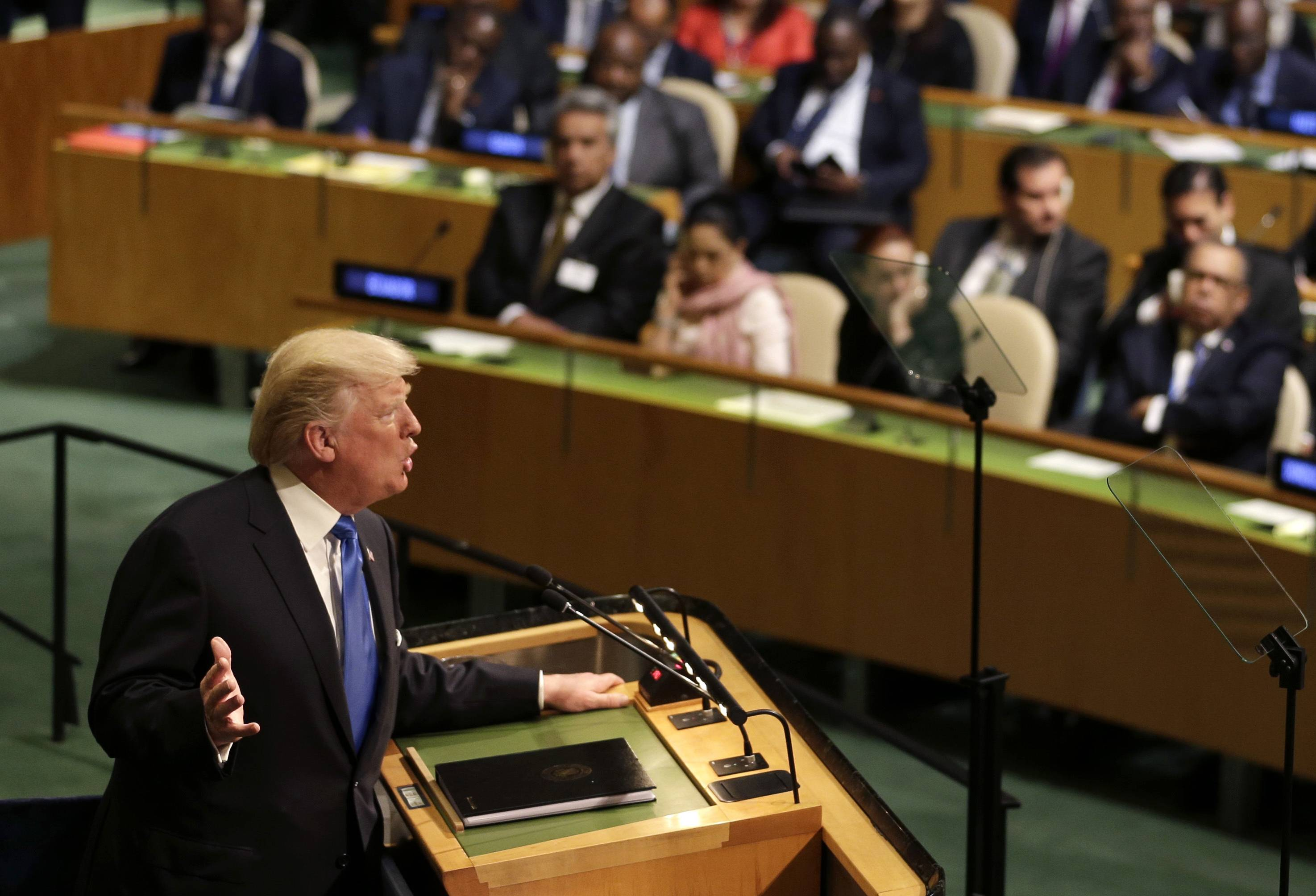 United States President Donald Trump speaks during the United Nations General Assembly at U.N. headquarters, Tuesday, Sept. 19, 2017.