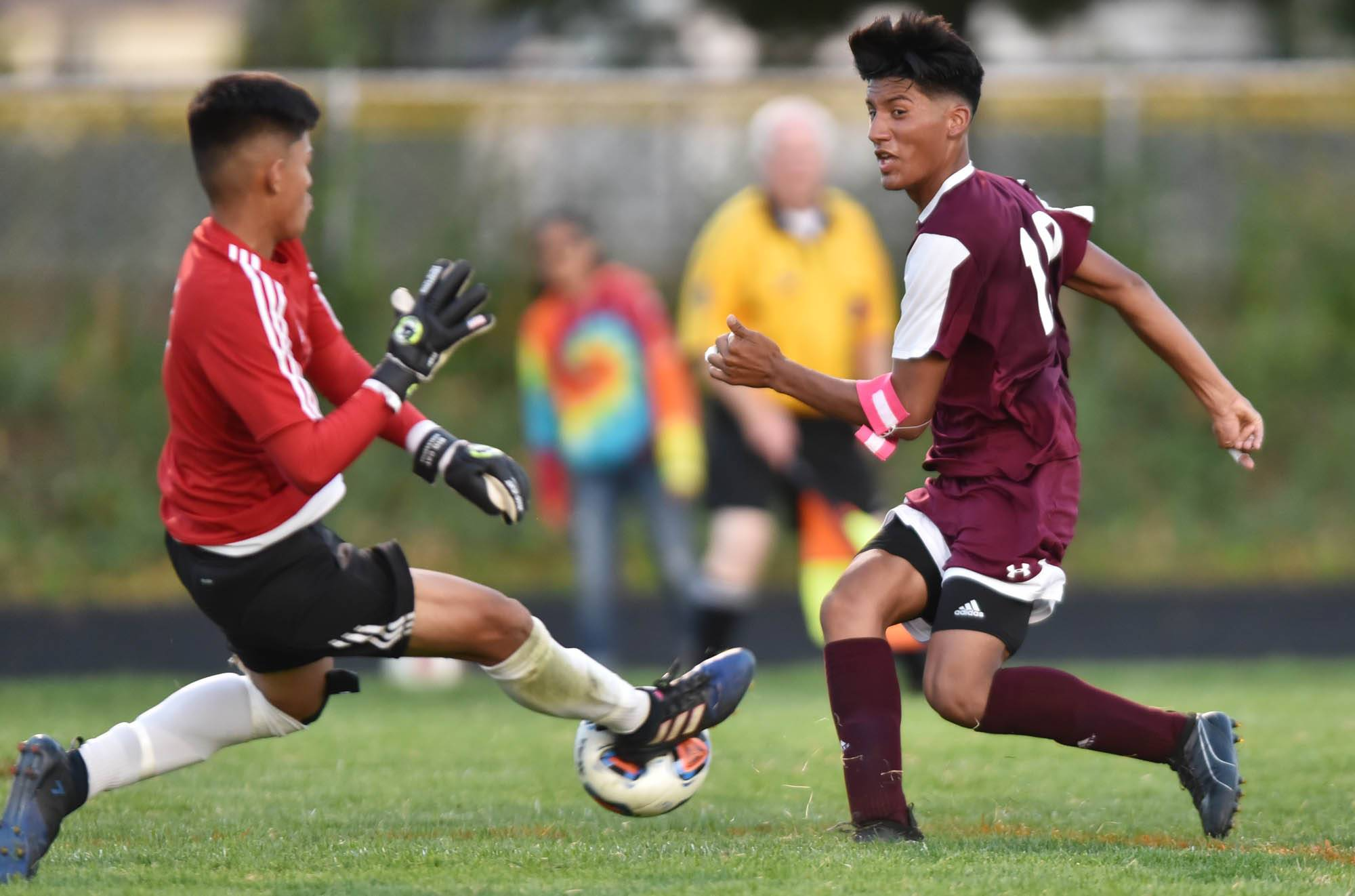 Elgin's Jesus Lopez has his shot stopped by Larkin goalkeeper Bryan Arredondo in the first half at Memorial Field at Elgin High School Tuesday.