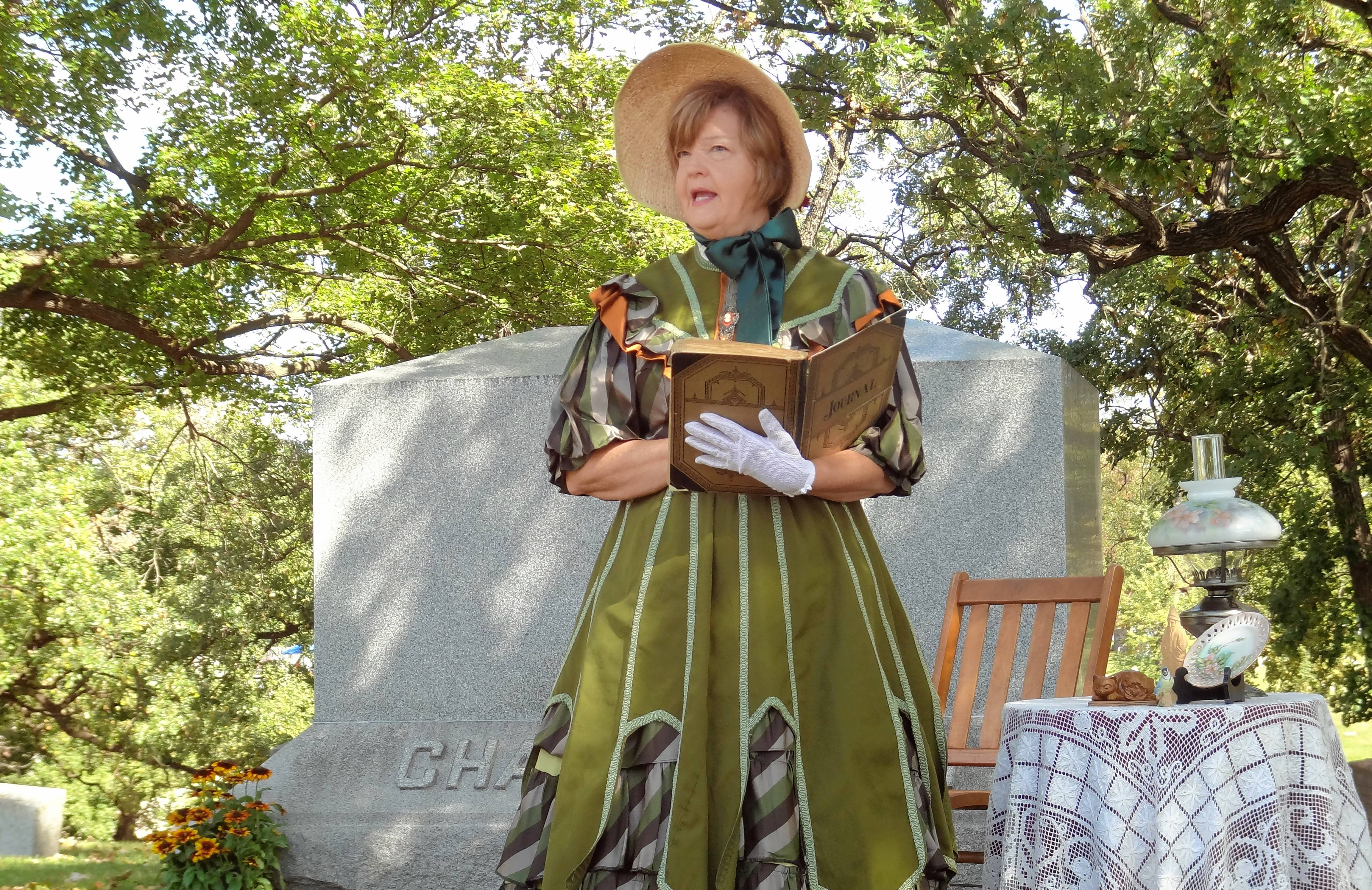 Beth Hudson plays Emeline Church Borden at an Elgin Cemetery Walk several years ago. Borden was an Elgin resident who married dairy magnate Gail Borden, The 30th annual Elgin Cemetery Walk takes place Sunday, Sept. 24 at Bluff City Cemetery.