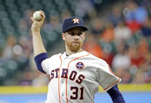 Houston Astros starting pitcher Collin McHugh throws during the first inning of a baseball game against the Chicago White Sox Tuesday, Sept. 19, 2017, in Houston. (AP Photo/David J. Phillip)