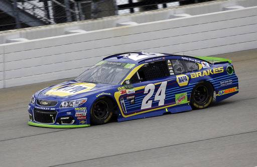 Chase Elliott drives during a NASCAR Cup Monster Energy Series auto race at Chicagoland Speedway in Joliet, Ill., Sunday, Sept. 17, 2017. (AP Photo/Nam Y. Huh)