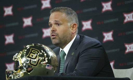 FILE - In this Tuesday, July 18, 2017 file photo, Baylor head football coach Matt Rhule speaks during the Big 12 NCAA college football media day in Frisco, Texas. Duke knows the danger of assuming an easy victory against an opponent with a poor record and some befuddling losses in other words, a team like Baylor. Not long ago, the Blue Devils were the ones being looked past. Duke plays host to the Bears on Saturday, Sept. 16, 2017 hoping to earn its first 3-0 start since 2014. (AP Photo/LM Otero, File)