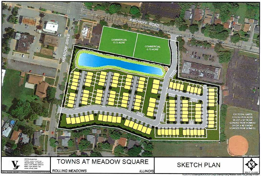 A proposal to redevelop the former Dominick's site in Rolling Meadows would include developing the rear portion with 120 townhouses, while the front would be reserved for commercial use.