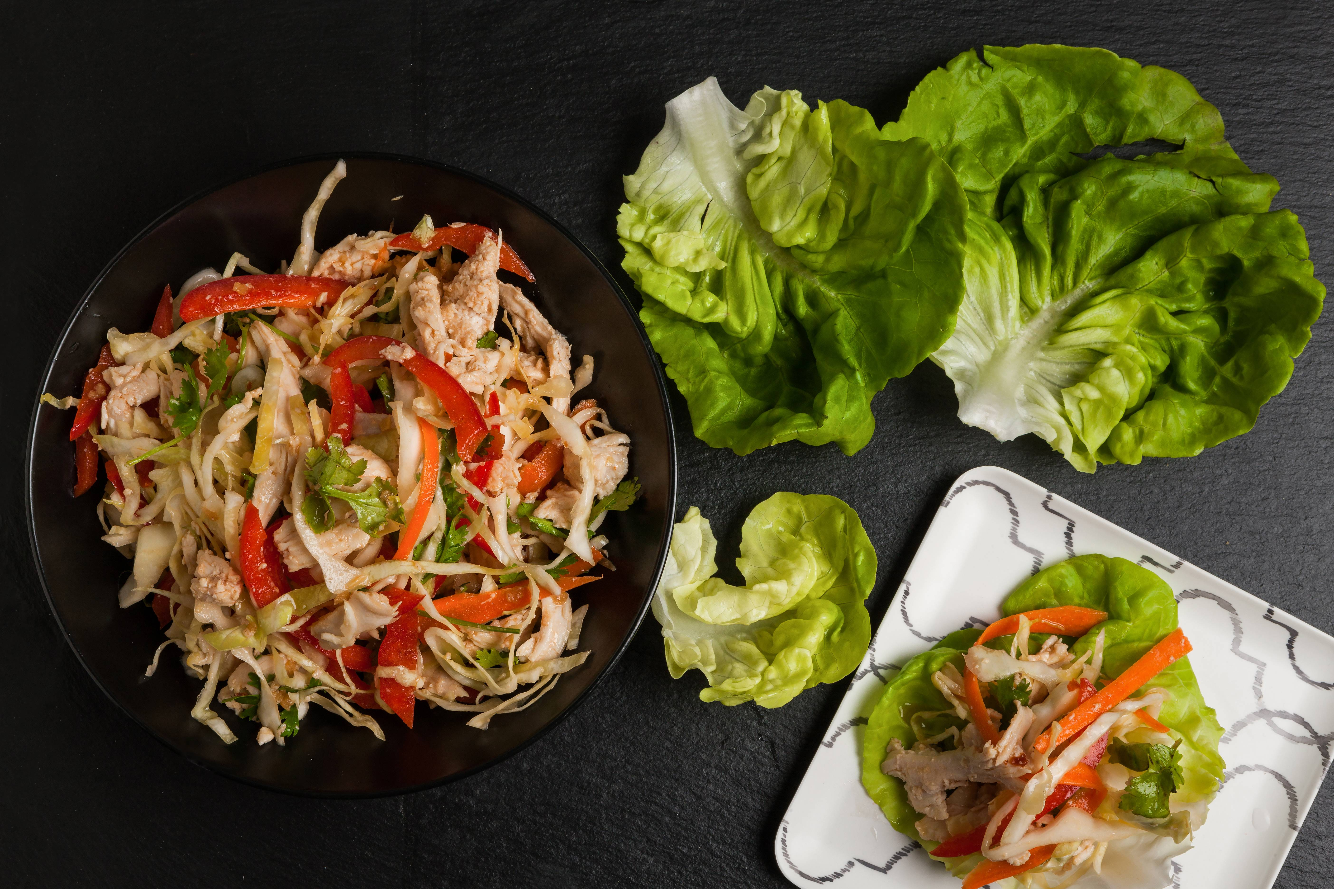 Chicken and Vegetable Salad With Asian Dressing.