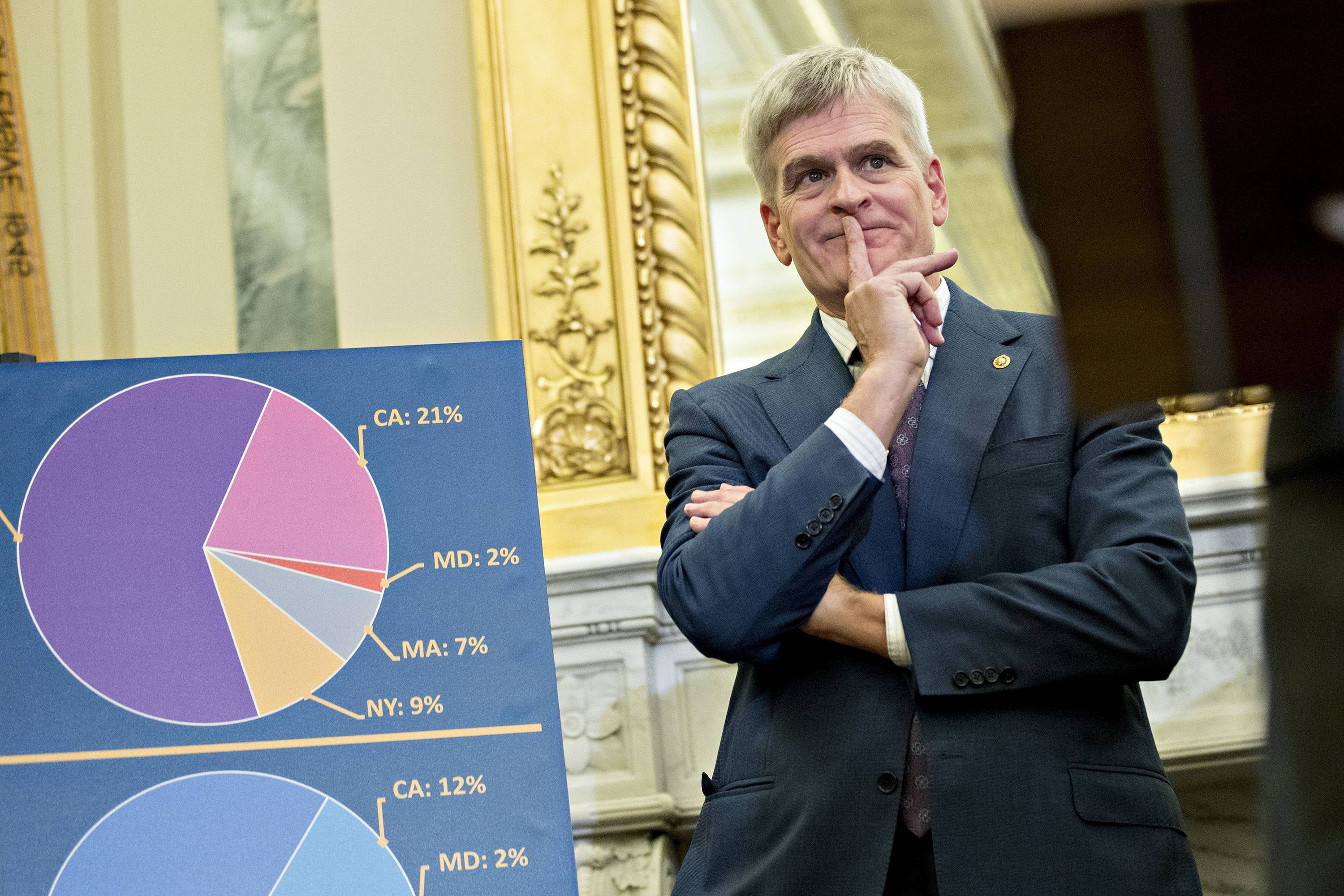 Sen. Bill Cassidy of Louisiana listens a news conference about the health care plan he and three other Republican senators are pushing to upend major elements of the Affordable Care Act.