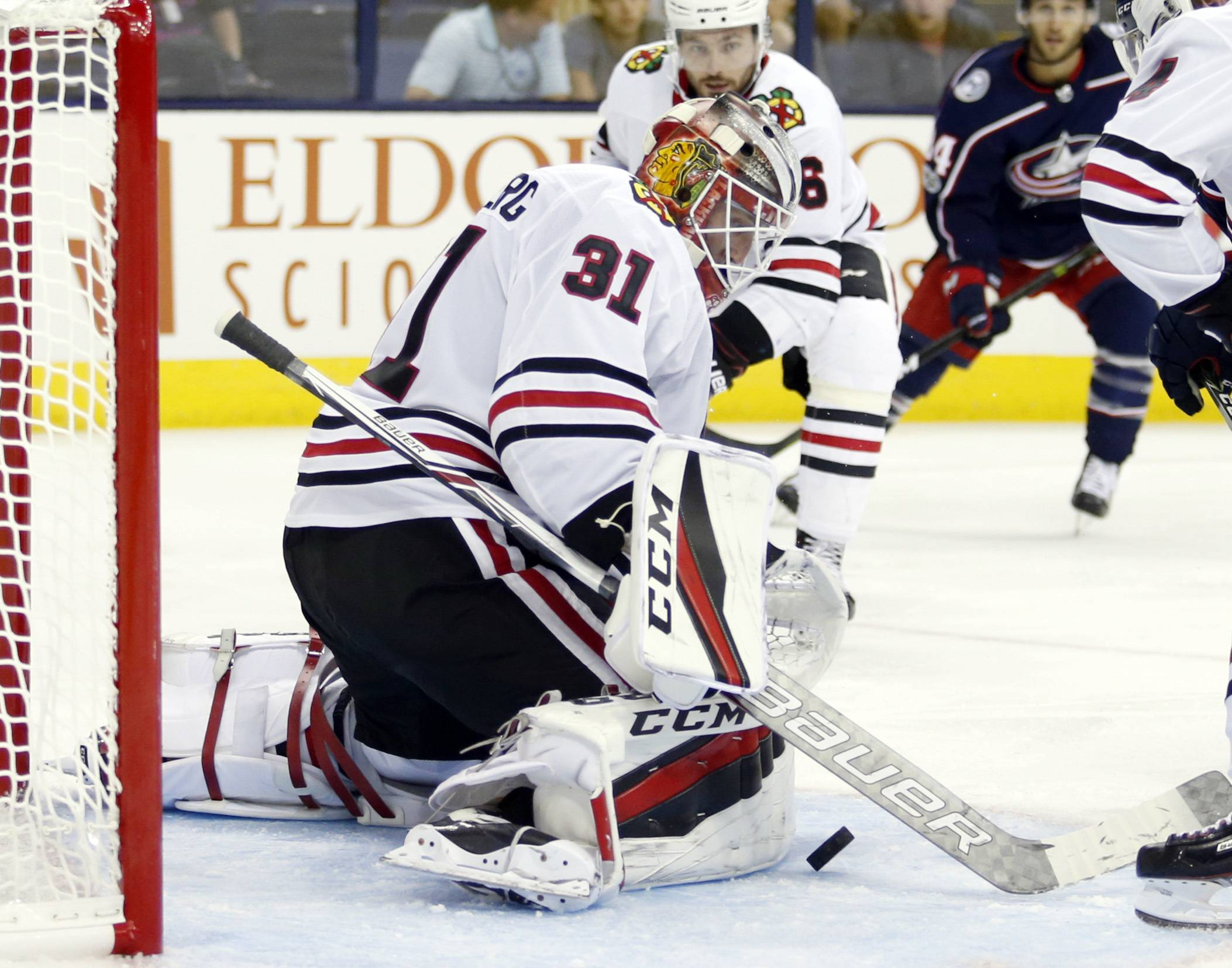 Chicago Blackhawks goalie Anton Forsberg, of Sweden, stops a shot against the Columbus Blue Jackets during the second period of a preseason NHL hockey game in Columbus, Ohio, Tuesday, Sept. 19, 2017. The Blackhawks won 5-2 (AP Photo/Paul Vernon)