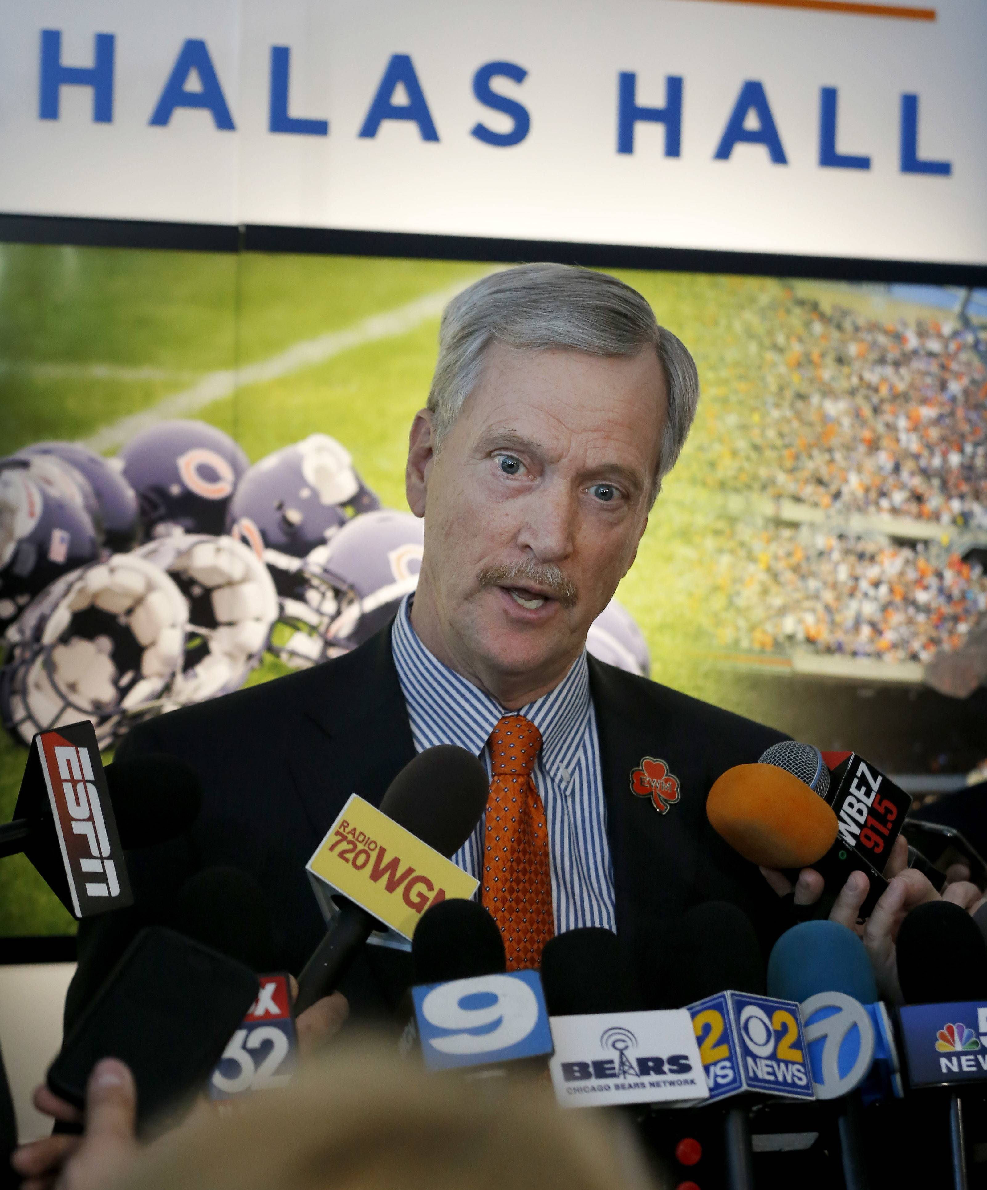 Chicago Bears chairman George H. McCaskey talks to reporters after an end of season NFL football news conference with coach John Fox and general manager Ryan Pace Wednesday, Jan. 4, 2017, in Lake Forest, Ill. (AP Photo/Charles Rex Arbogast)