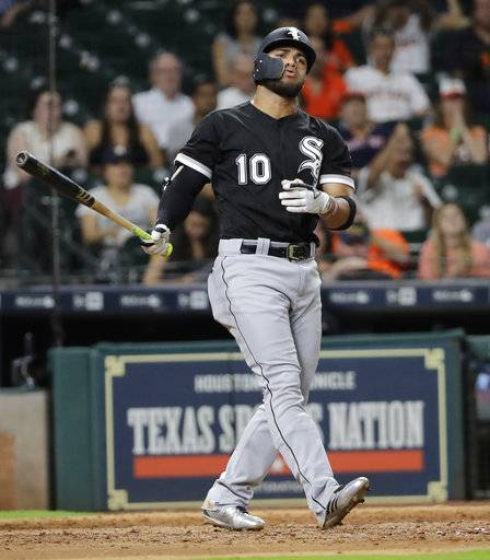 Chicago White Sox's Yoan Moncada reacts after striking out during the eighth inning of a baseball game against the Houston Astros on Wednesday, Sept. 20, 2017, in Houston.