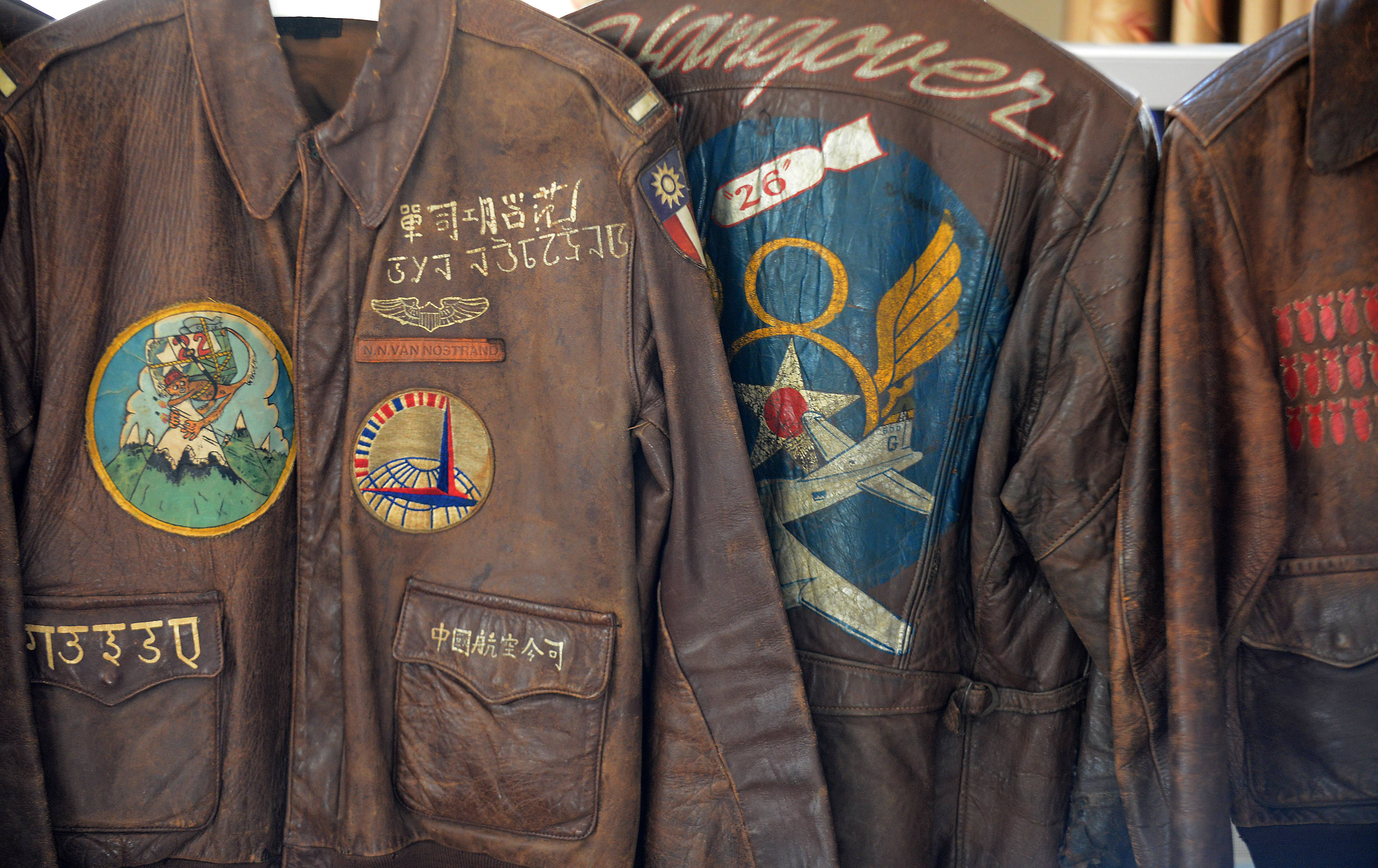 Many of South Elgin resident Steve Thompson's collection of flight jackets include the pilot's scrapbook or other notes.