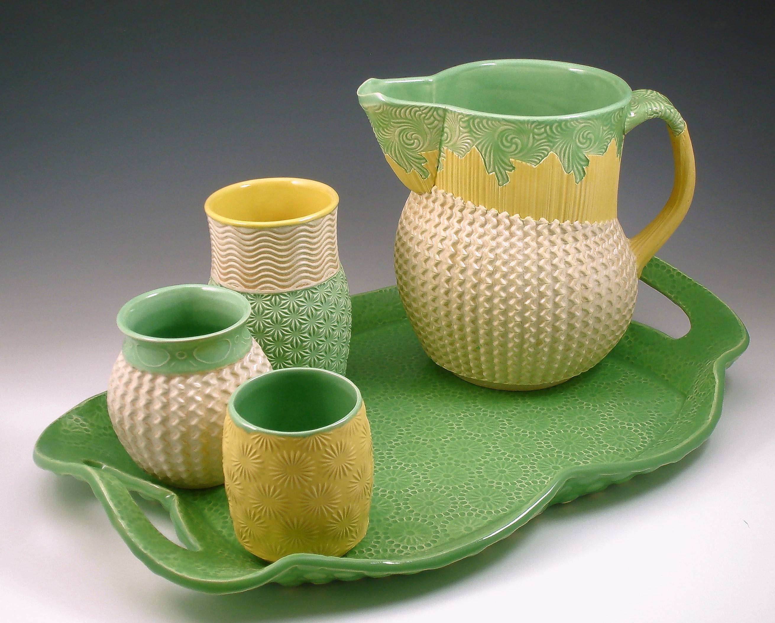 Table top pieces with Annie Chrietzburg's signature textured patterns made from her own templates will be demonstrated at a pottery workshop Sept. 29-30 at McHenry County College.