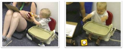 "This combination of undated images taken from video provided by Julia Anne Leonard shows a ""handoff"" of a baby handing the toy to the parent, left, or throwing the toy to the ground during a study conducted by researchers. Children around 15 months old can become more persistent in pursuing a goal if they've just seen an adult succeed after struggling, a new study says. The results suggest ""the potential value in letting children 'see you sweat:' Showing children that hard work might encourage them to work hard too,� researchers conclude in a report released Thursday, Sept. 21, 2017, by the journal Science. (Julia Anne Leonard via AP)"