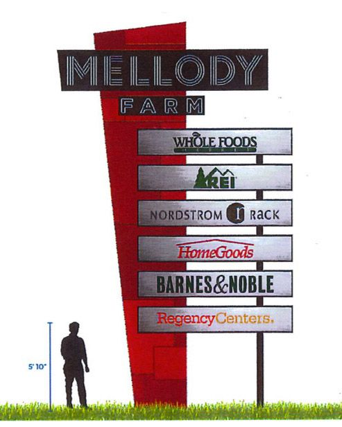 In an attempt to stand out on the suburban landscape, developers of the ongoing Mellody Farm project in Vernon Hills received approval for a dramatic change in the entry/multi-tenant signs from a country feel to a more retro, hip style with neon.