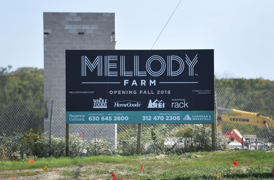 Mellody Farms signs near the construction site at routes 21 and 60 in Vernon Hills.