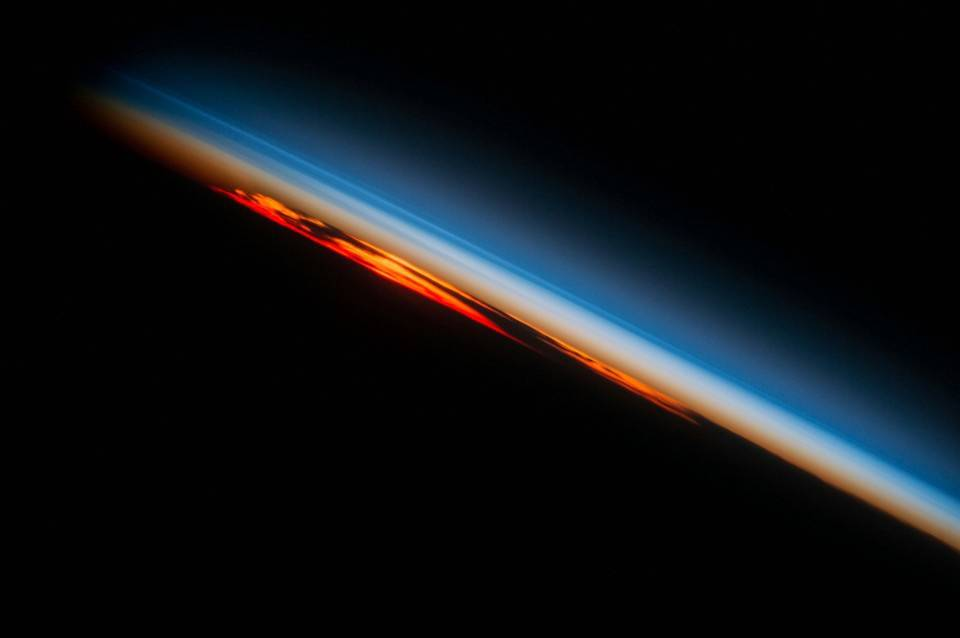 Sunset over the southern part of the Atlantic Ocean. Photo taken from the International Space Station. Johnson Space Center/NASA.