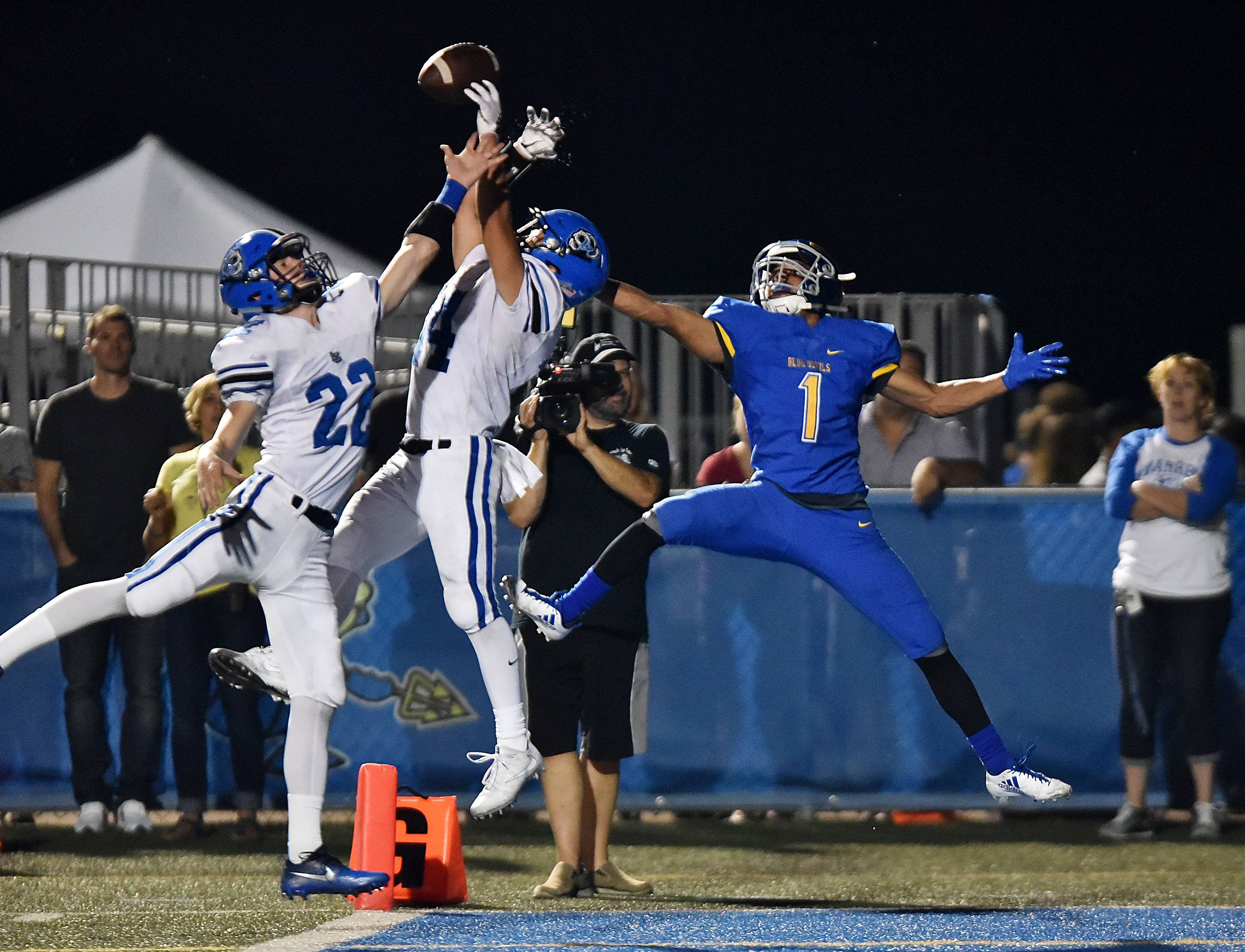 Lake Zurich's Austin Le Page breaks up a pass in the engine intended for Warren's Jaden Quartey on Friday in Gurnee.