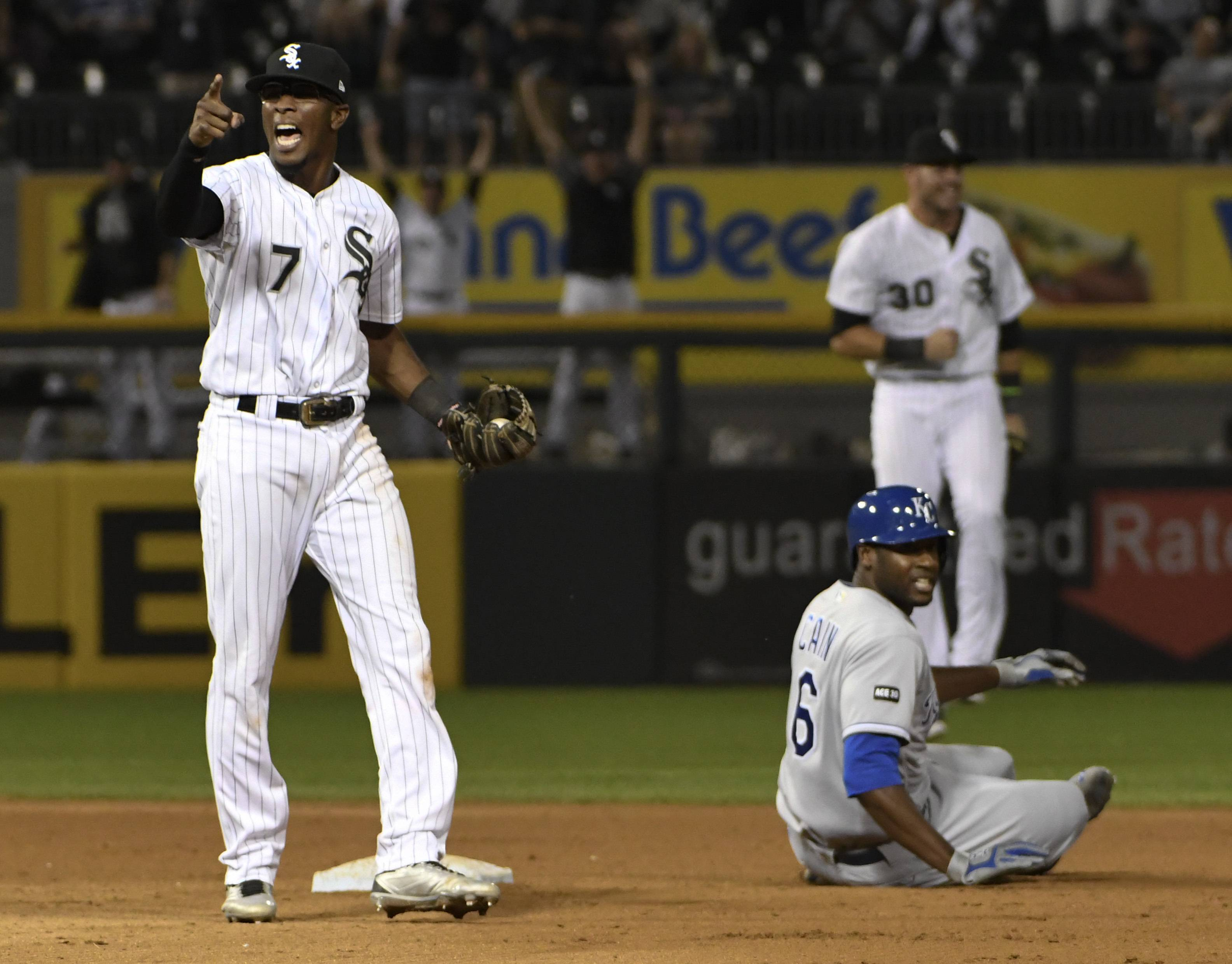 Chicago White Sox shortstop Tim Anderson (7) reacts after tagging out Kansas City Royals' Lorenzo Cain (6) at second base for the final out of a baseball game, Friday, Sept. 22, 2017, in Chicago. The White Sox defeated the Royals 7-6.