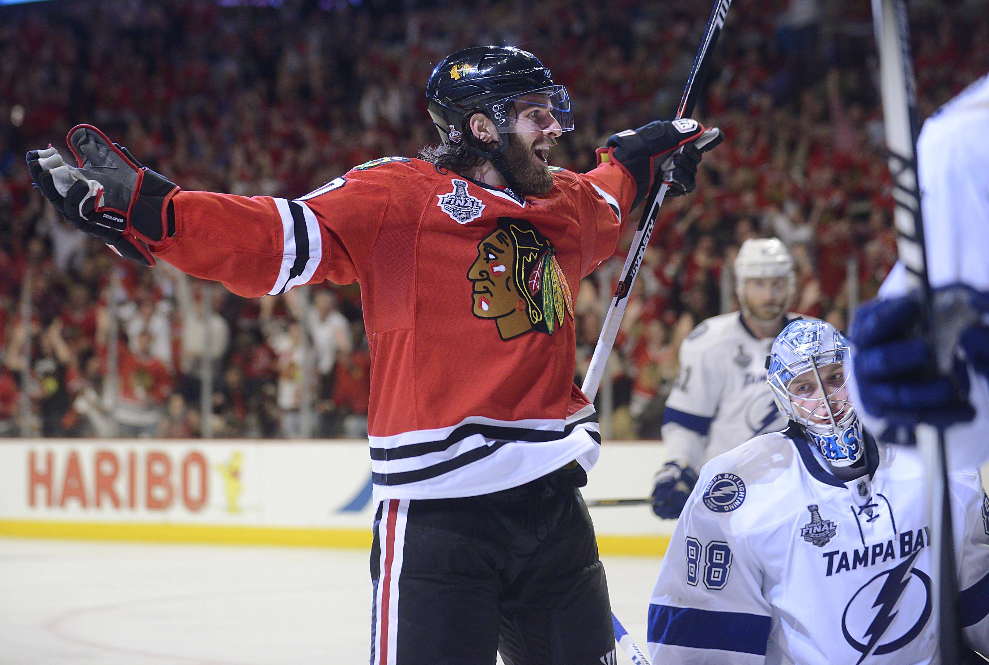 Chicago Blackhawks left wing Brandon Saad celebrates his game-winning goal in Game 4 of the Stanley Cup Finals in 2015. Saad spent two years away from Chicago, but is back and had quite a homecoming on Thursday, when he recorded a hat trick.