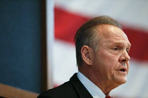 Former Alabama Chief Justice and U.S. Senate candidate Roy Moore debates with Sen. Luther Strange on Thursday, Sept. 21, 2017, in Montgomery, Ala.
