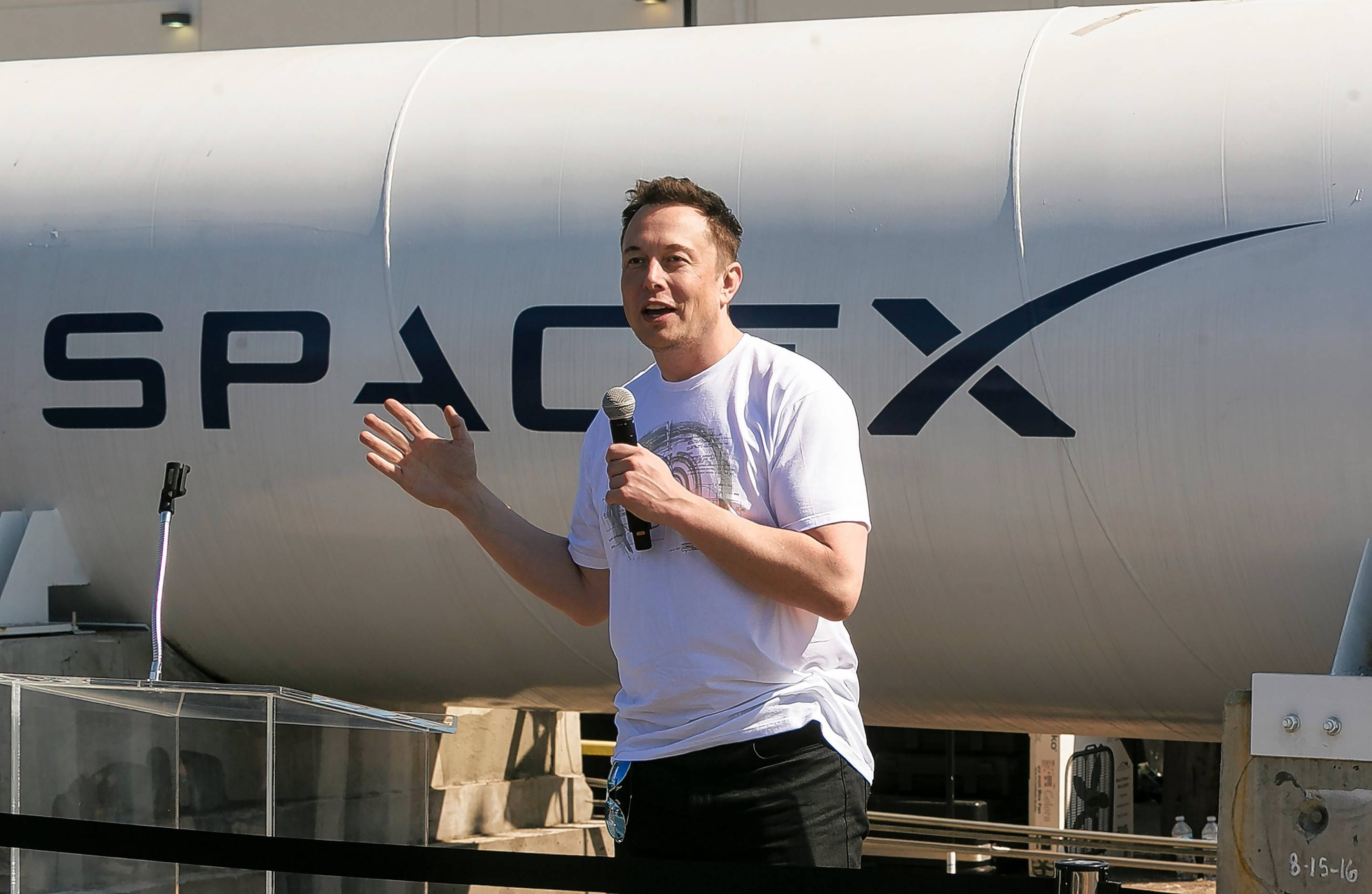 SpaceX CEO Elon Musk congratulates teams competing on the Hyperloop Pod Competition II at SpaceX's Hyperloop track in Hawthorne, Calif., Sunday, Aug 27, 2017. The Hyperloop system built by SpaceX is approximately one mile in length with a six-foot outer diameter.