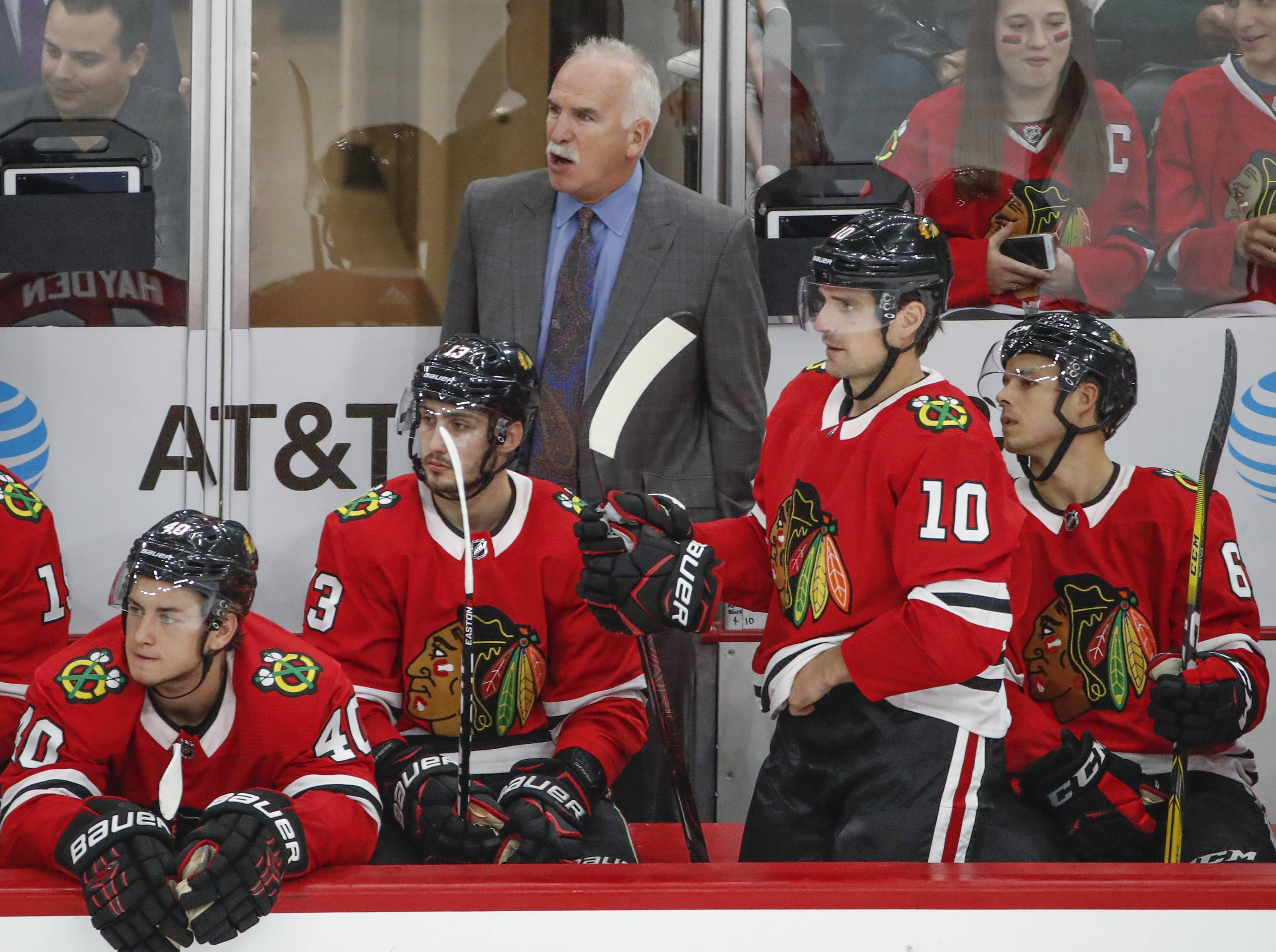 Chicago Blackhawks head coach Joel Quenneville, top center, yells to his team during the third period of a preseason NHL hockey game against the Columbus Blue Jackets Saturday, Sept. 23, 2017, in Chicago. (AP Photo/Kamil Krzaczynski)