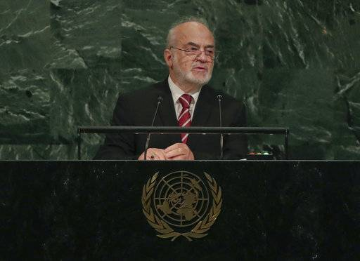 Iraq's Minister for Foreign Affairs Ibrahim Abdulkarim Al-Jafari speaks during the 72nd session of the United Nations General Assembly, Saturday, Sept. 23, 2017, at U.N. headquarters.
