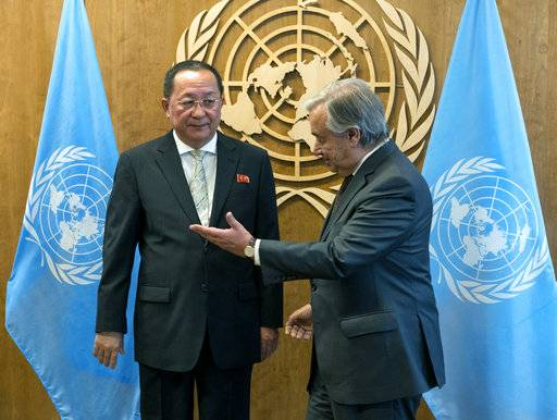 North Korean Foreign Minister Ri Yong Ho, left, is greeted by United Nations Secretary-General Antonio Guterres before a meeting, Saturday, Sept. 23, 2017, at U.N. headquarters.