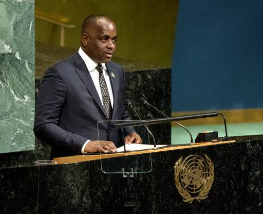 Prime Minister of Dominica Roosevelt Skerrit addresses the United Nations General Assembly, Saturday, Sept. 23, 2017, at U.N. headquarters.