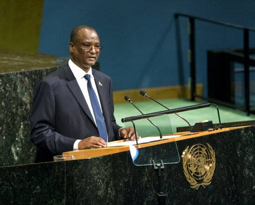 South Sudan's Vice President Taban Deng Gai addresses the United Nations General Assembly, Saturday, Sept. 23, 2017, at U.N. headquarters.