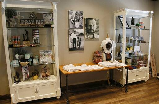 A gift shop at Holy Trinity Catholic Church carries items pertaining to Father Stanley Rother in Okarche, Okla, Thursday, Sept. 21, 2017. Rother was an American priest killed during Guatemala's civil war who is on the path to possible sainthood. A ceremony for Rother's Beatification is scheduled for Saturday, Sept. 23, 2017.