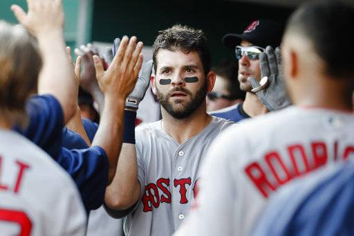 Boston Red Sox's Mitch Moreland celebrates in the dugout after hitting a three-run home run off Cincinnati Reds starting pitcher Robert Stephenson in the sixth inning of a baseball game, Saturday, Sept. 23, 2017, in Cincinnati. (AP Photo/John Minchillo)
