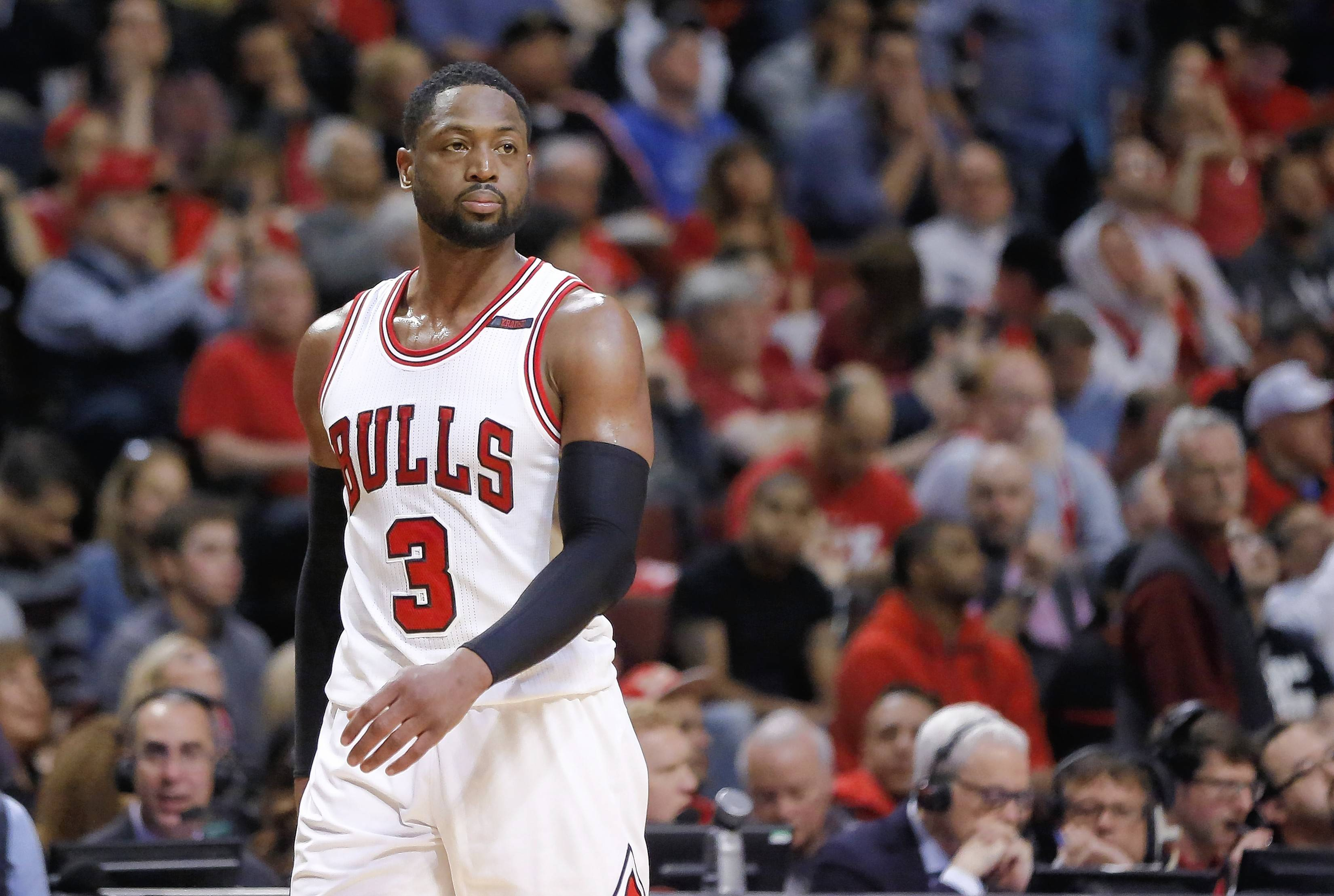 Chicago Bulls' Dwyane Wade walks toward the basket coming out of a break during the second half in Game 3 of an NBA basketball first-round playoff series against the Boston Celtics in Chicago, Friday, April 21, 2017. The Celtics won 104-87. (AP Photo/Charles Rex Arbogast)