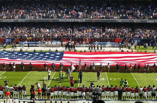 The Pittsburgh Steelers side of the field is nearly empty during the playing of the national anthem before an NFL football game between the Steelers and Chicago Bears, Sunday, Sept. 24, 2017, in Chicago.