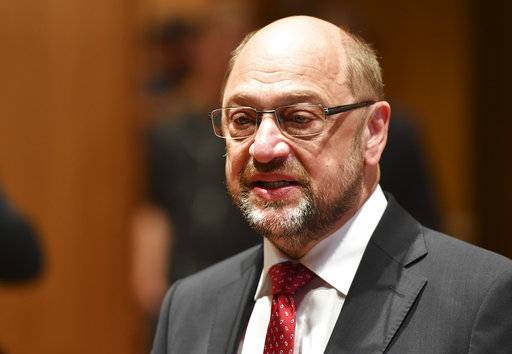 Martin Schulz, top candidate and chairman of the Social Democratic Party, gives a statement after casting his vote in the German parliament election in Wuerselen, Germany, Sunday, Sept. 24, 2017. Schulz is challenging Chancellor Angela Merkel who is widely expected to win a fourth term in office as Germans go to the polls.