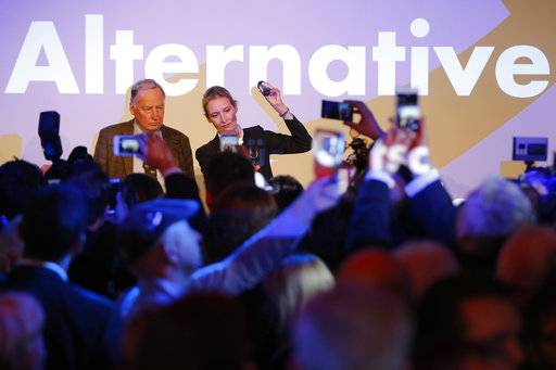 AfD top candidates Alexander Gauland and Alice Weidel address their supporters during the election party of the nationalist 'Alternative for Germany', AfD, in Berlin, Germany, Sunday, Sept. 24, 2017, after the polling stations for the German parliament elections had been closed.