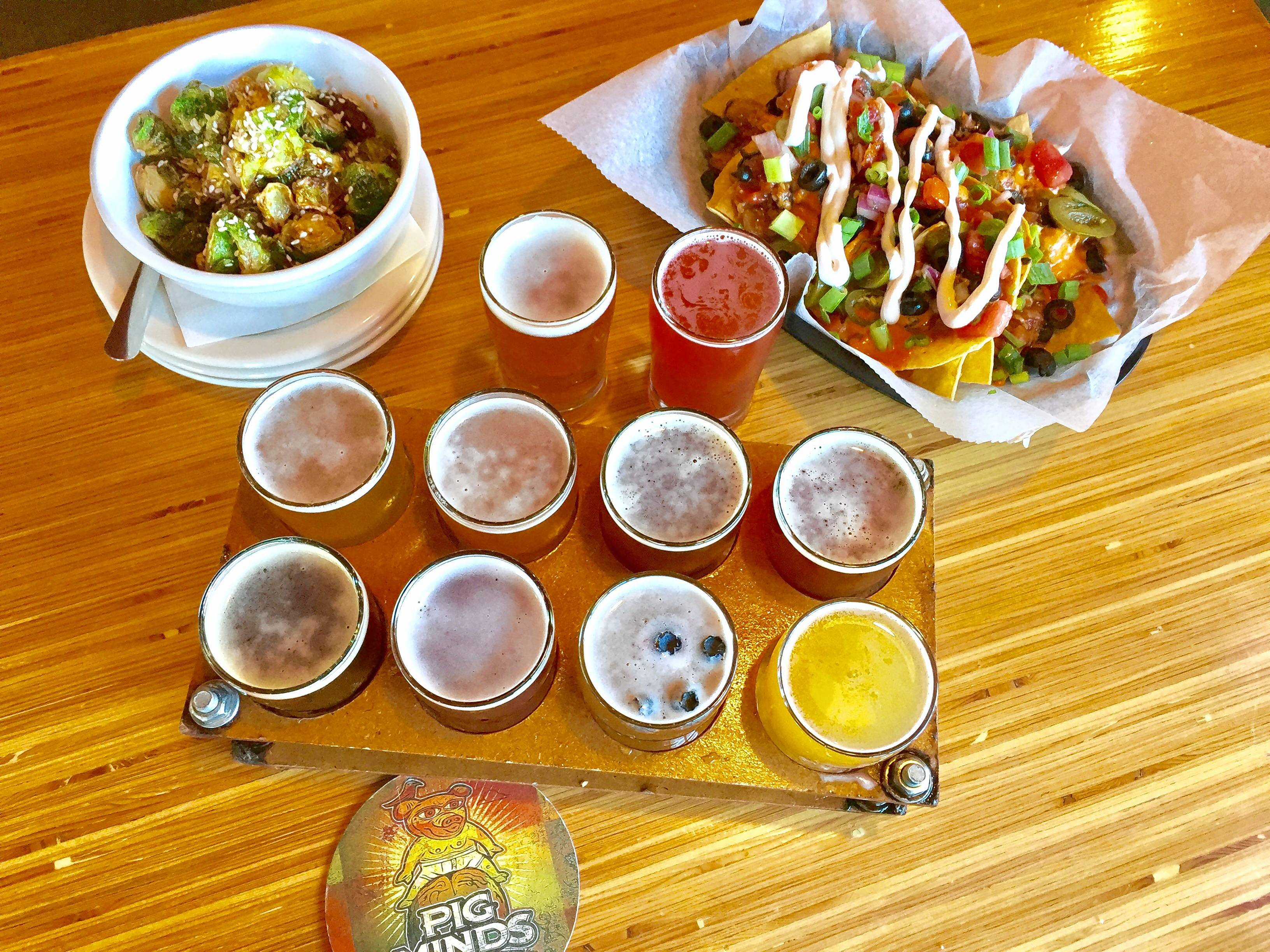 Brussels sprouts, Korean tacos  and a beer flight at Pig Minds in Machesney Park.