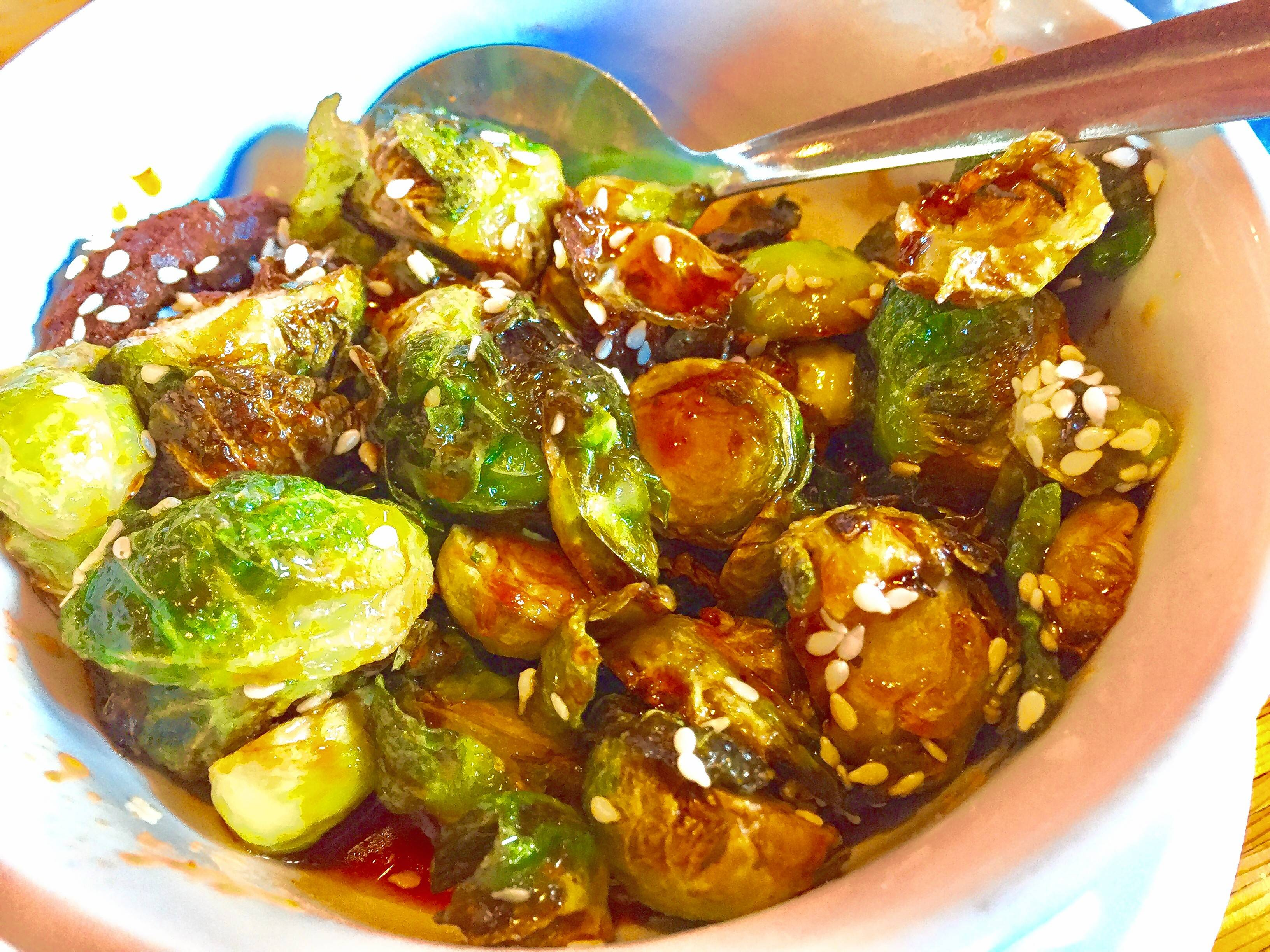 Spicy sweet Brussels spouts at Pig Minds Brewing. Its restaurant offers a 100-percent plant-based menu.