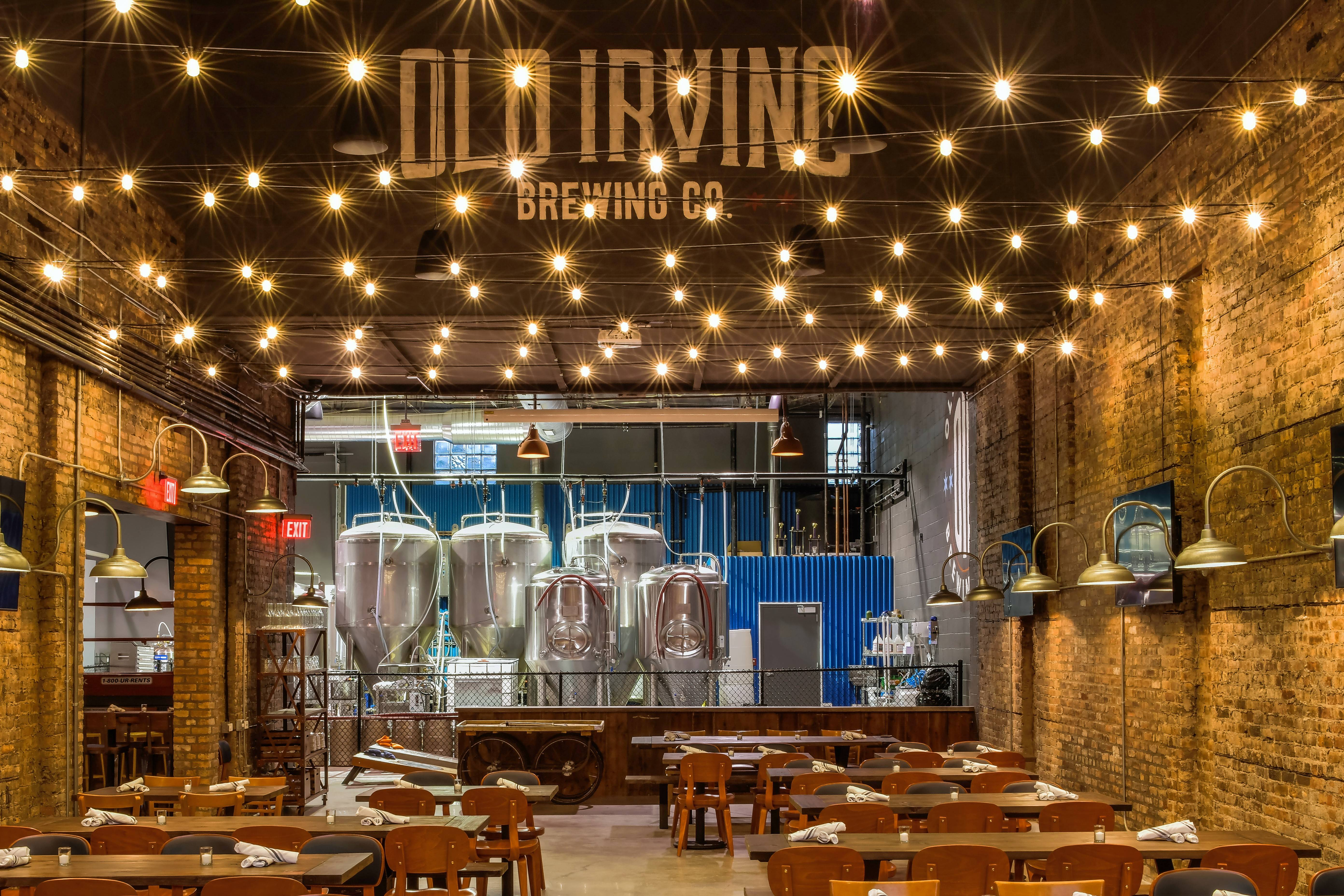 Old Irving Brewing Co. in Chicago offers a spacious brewpub serving wood-fired fare.