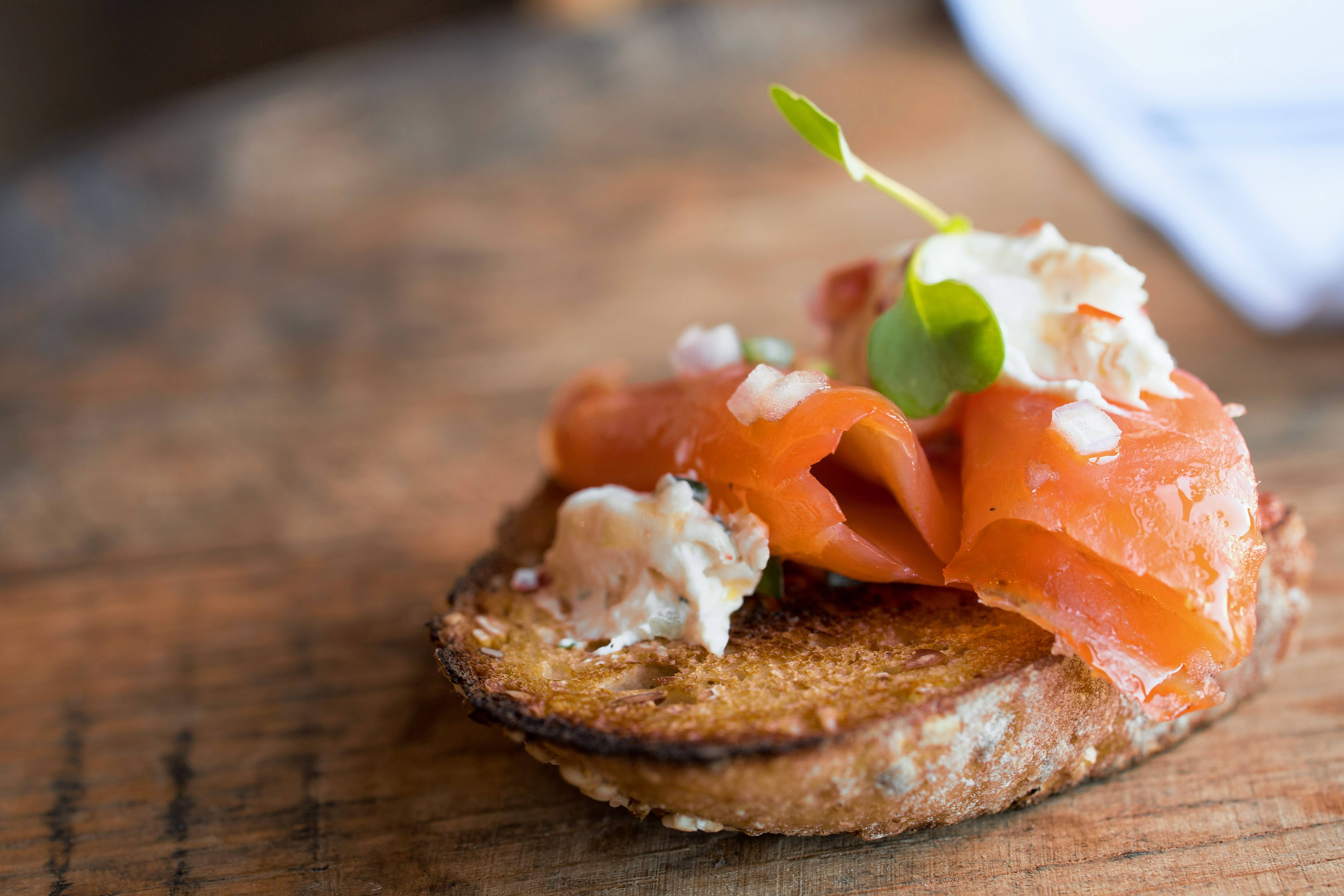 Old Irving Brewing serves its house-smoked salmon on wheat-thyme crackers.