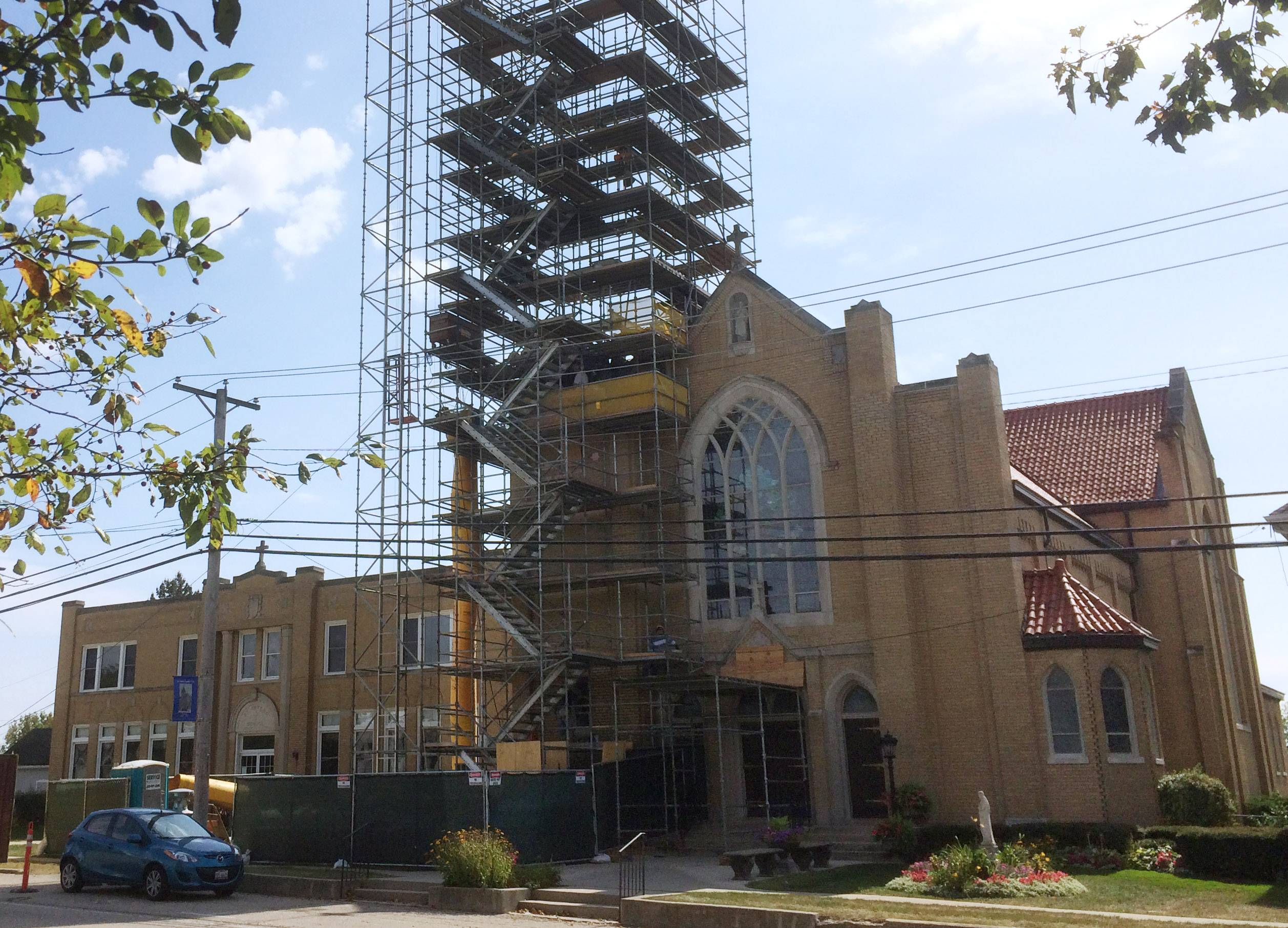 St. Peter Church in Volo is marking its 150th anniversary by restoring the original bell tower and spire removed after being damaged by lightning in 1961.