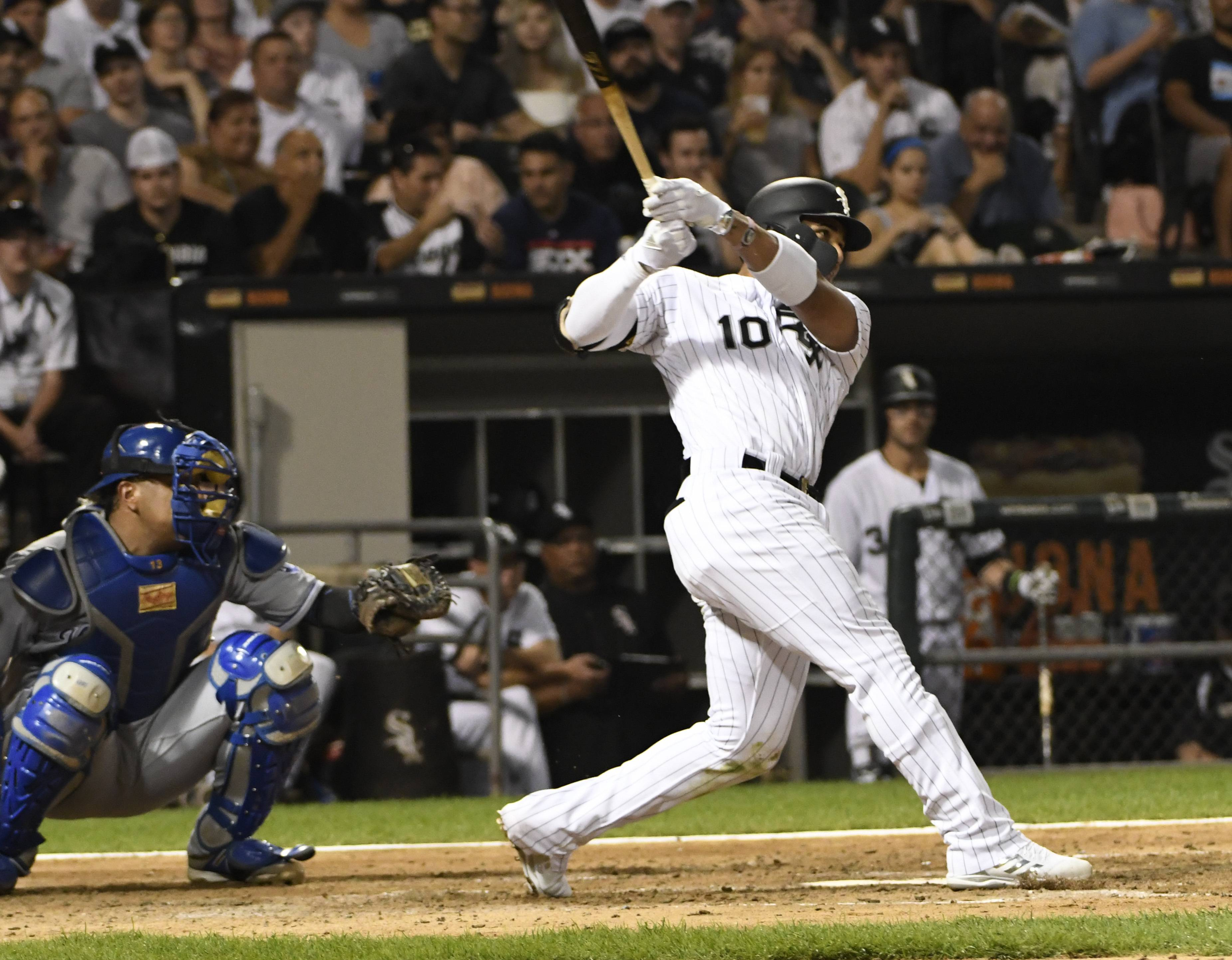 Yoan Moncada was held out of the Chicago White Sox lineup Monday night against the Angels after his sore right shin flared up.