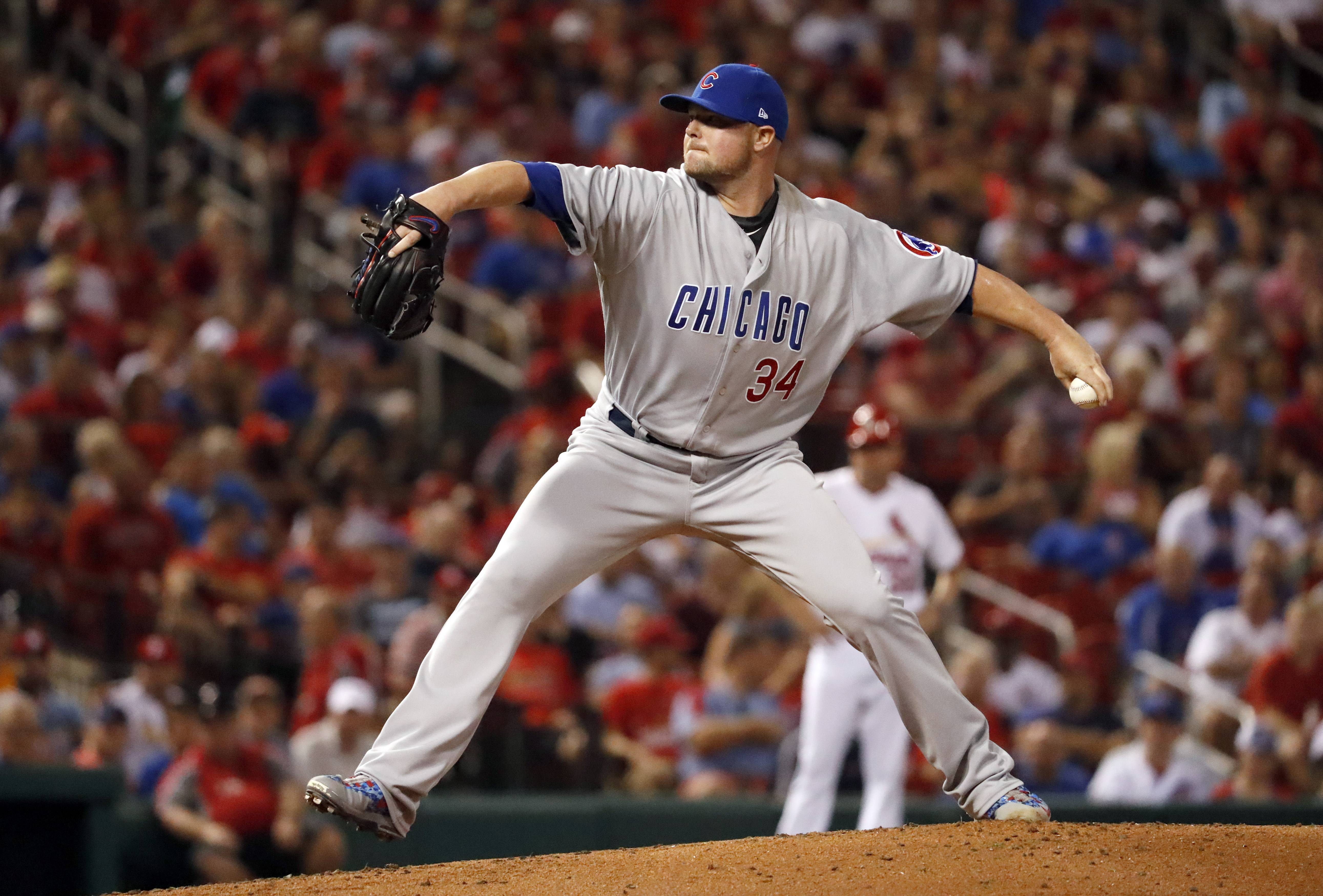 Chicago Cubs starting pitcher Jon Lester throws during the first inning of a baseball game against the St. Louis Cardinals on Monday, Sept. 25, 2017, in St. Louis. (AP Photo/Jeff Roberson)