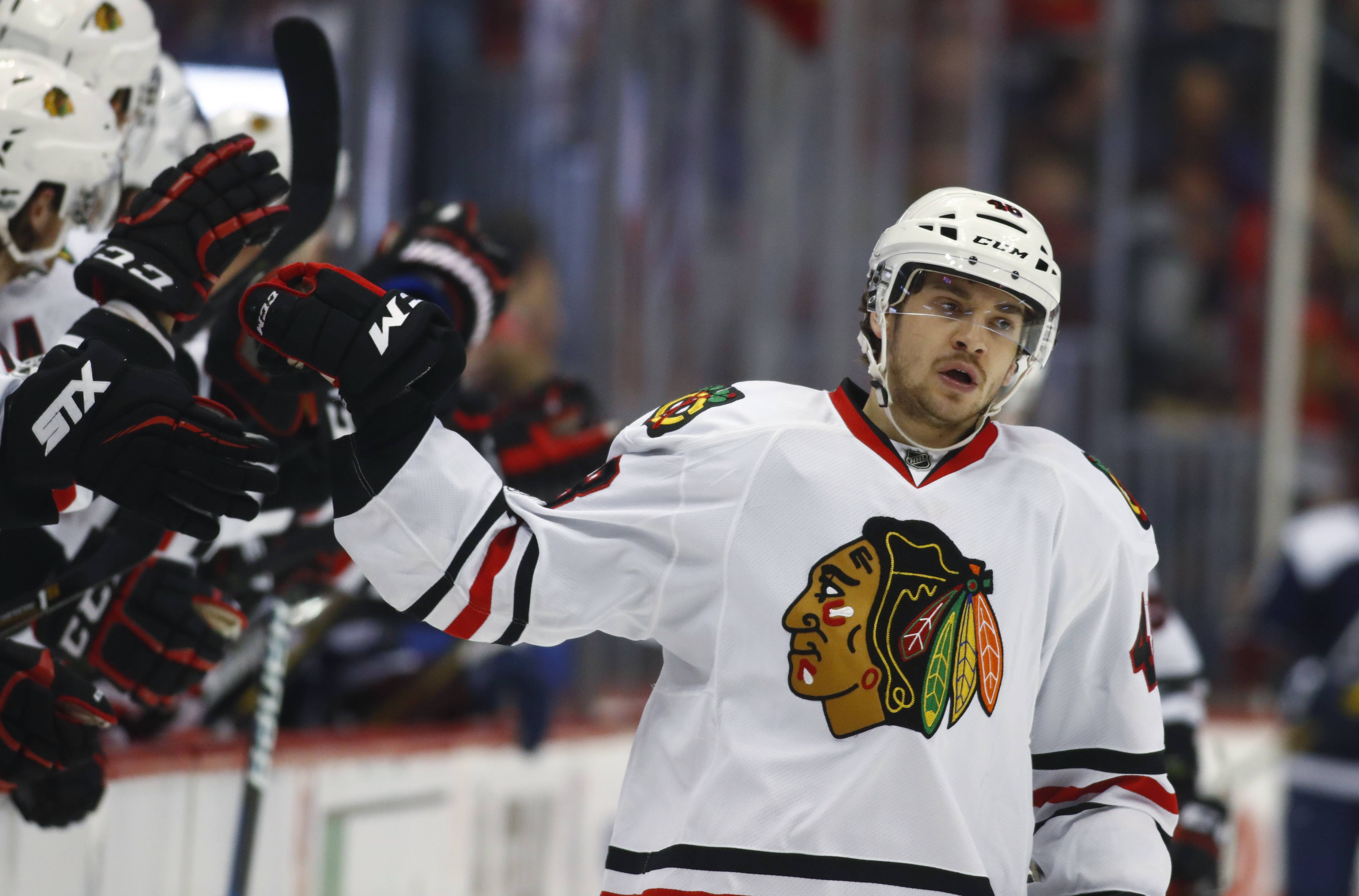 Left wing Vinnie Hinostroza played 56 games with the Blackhawks last season and another 86 down in Rockford. Hinostroza is one of seven forwards trying to earn a spot on the roster before the regular season starts.